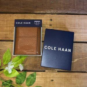 Cole Haan Leather Grain Men's Trifold Wallet Tan